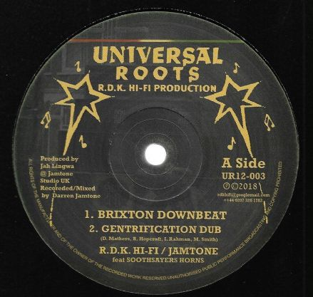 RDK Hi Fi & Jamtone ft Soothsayers Horns - Brixton Downbeat (Universal Roots) 12""